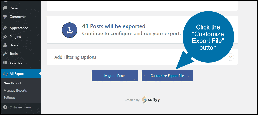 click Customize Export File button