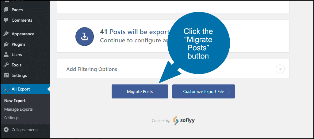 "click the ""Migrate Posts"" button"