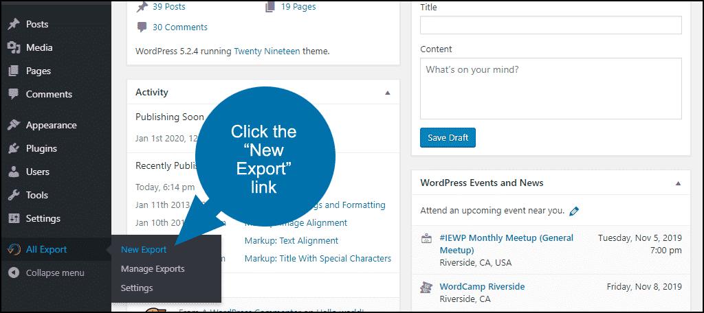 """click the """"New Export"""" link"""