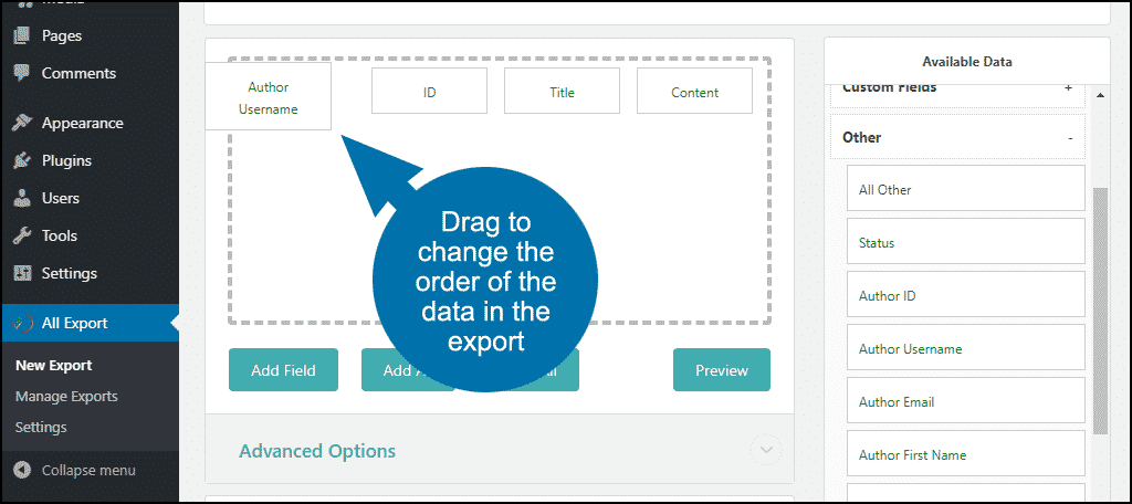 change the order of the data in the export