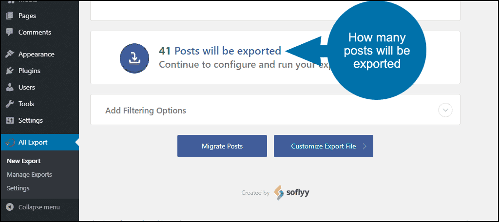 how many posts will be exported