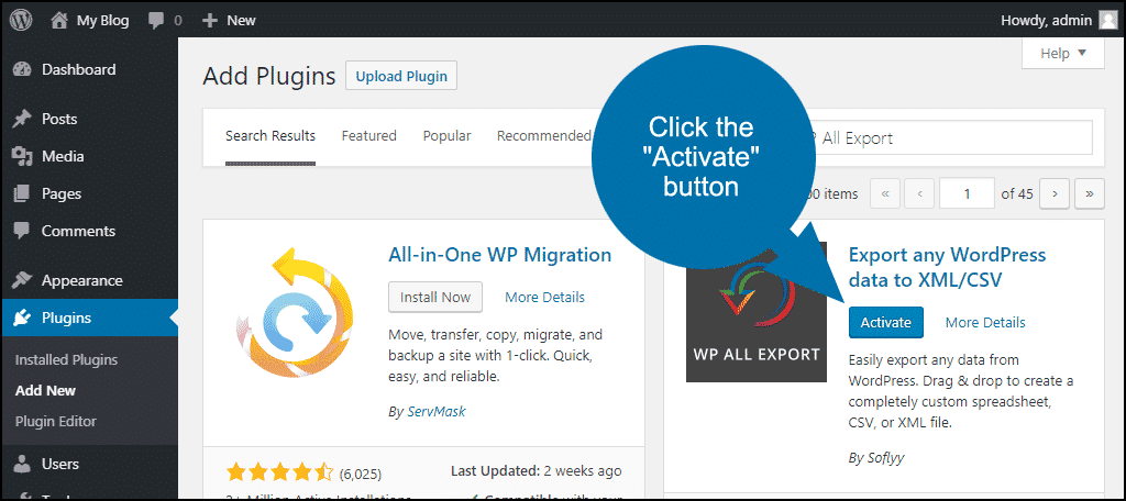 click to activate the WordPress WP All Export plugin