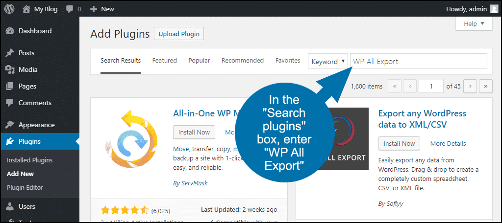 search for the WordPress WP All Export plugin