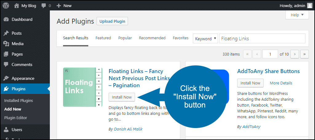 click to install the WordPress Floating Links plugin
