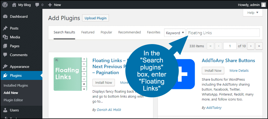 search for the WordPress Floating Links plugin