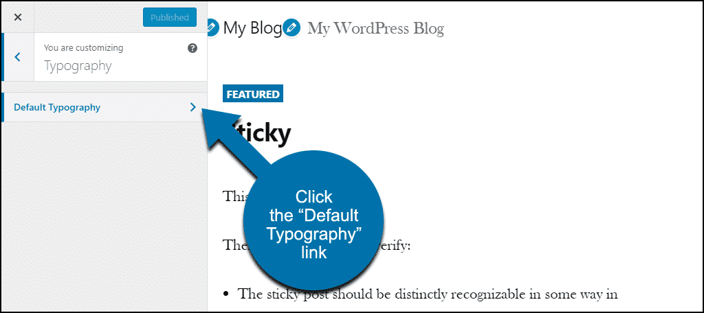 "click the ""Default Typography"" link"
