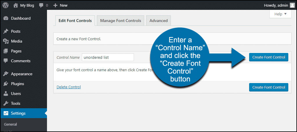 "click the ""Create Font Control"" button"