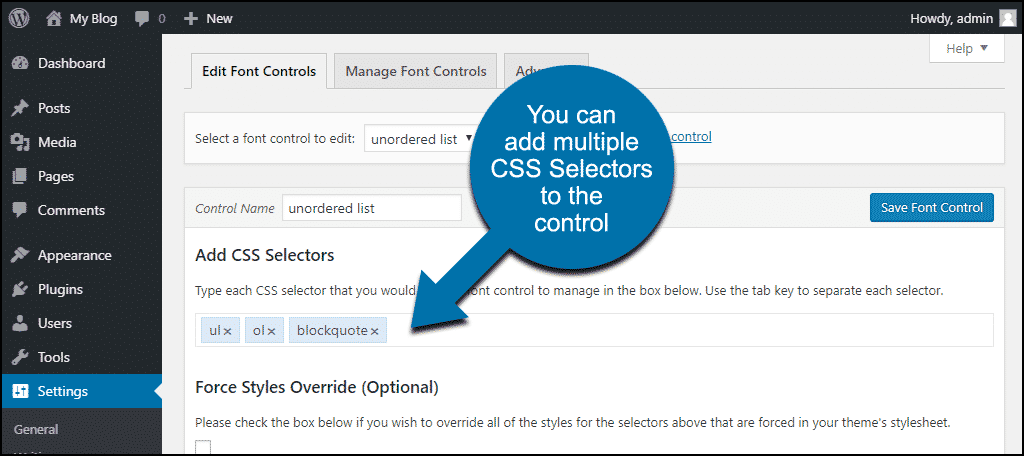 add multiple CSS selectors to one control