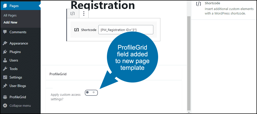 ProfileGrid adds a field to the page creation template