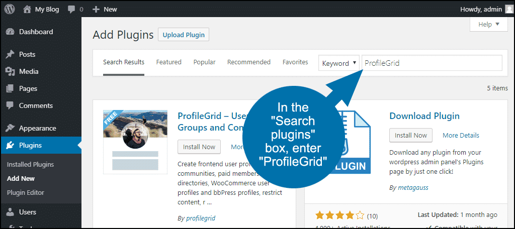 search for the WordPress ProfileGrid plugin
