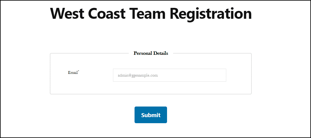 registration page for the group