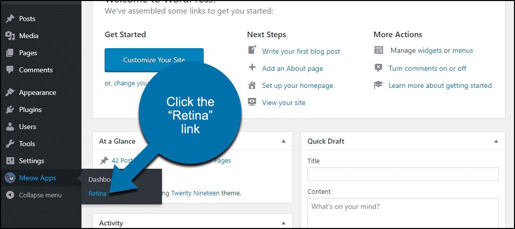 """click the """"Retina"""" link"""