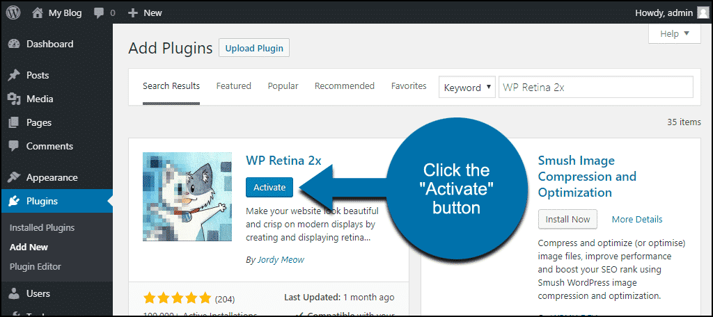 click to activate the WordPress WP Retina 2x plugin