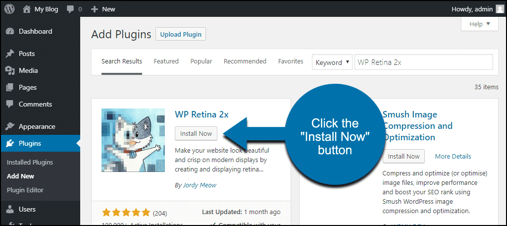 click to install the WordPress WP Retina 2x plugin