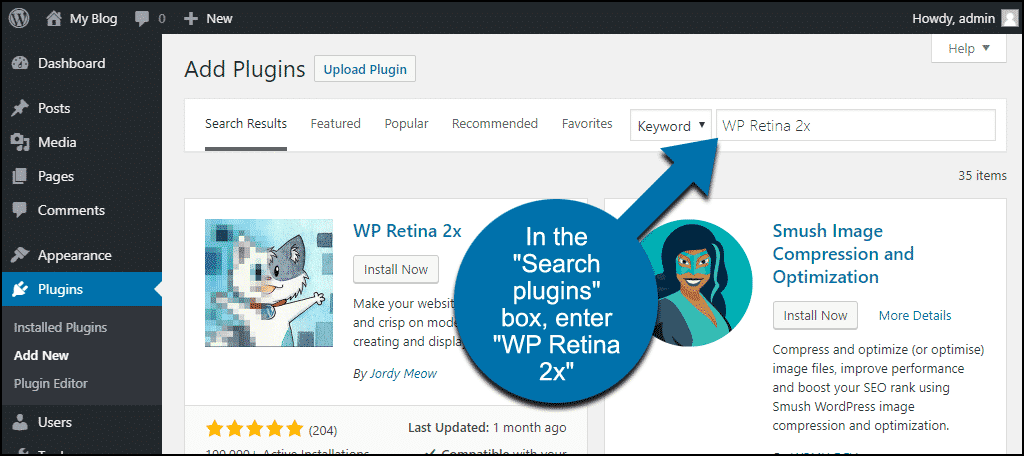 search for the WordPress WP Retina 2x plugin