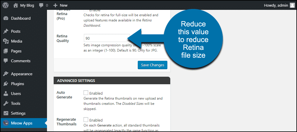 reduce this value to reduce the Retina file sizes