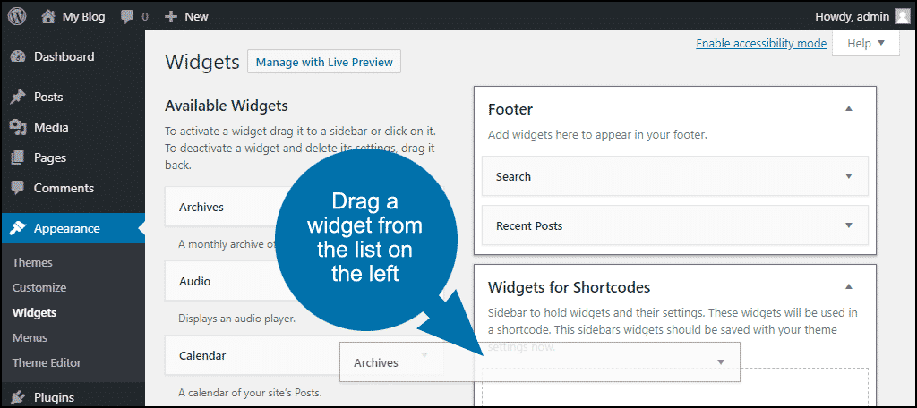 drag a widget from the list on the left