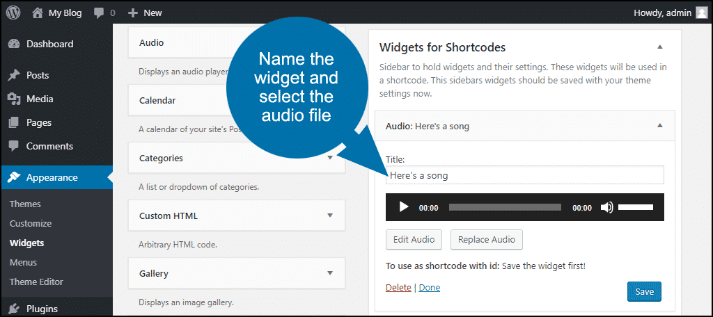 name and configure widget