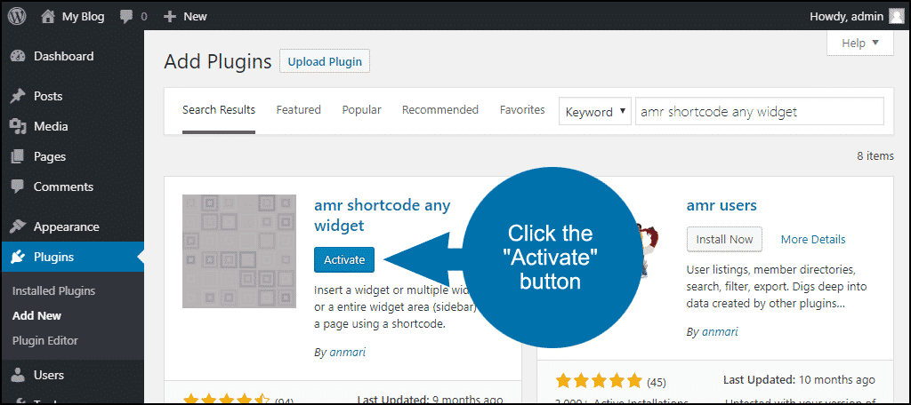 click to activate the WordPress amr shortcode any widget plugin