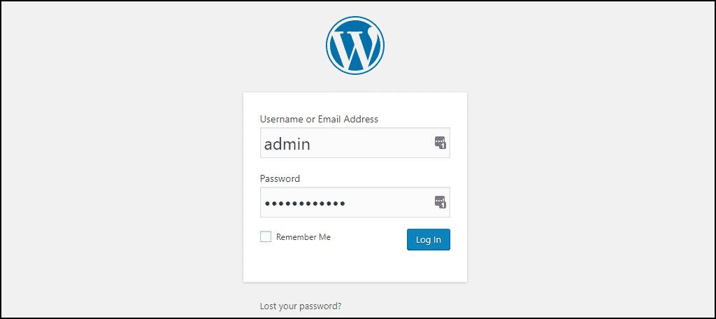 admin login of the new WordPress installation