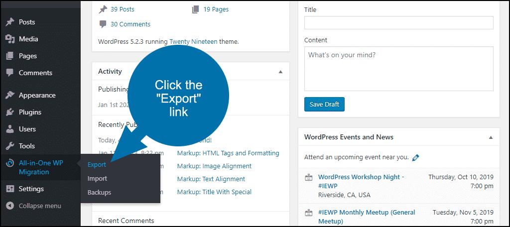 """click the """"Export"""" link"""