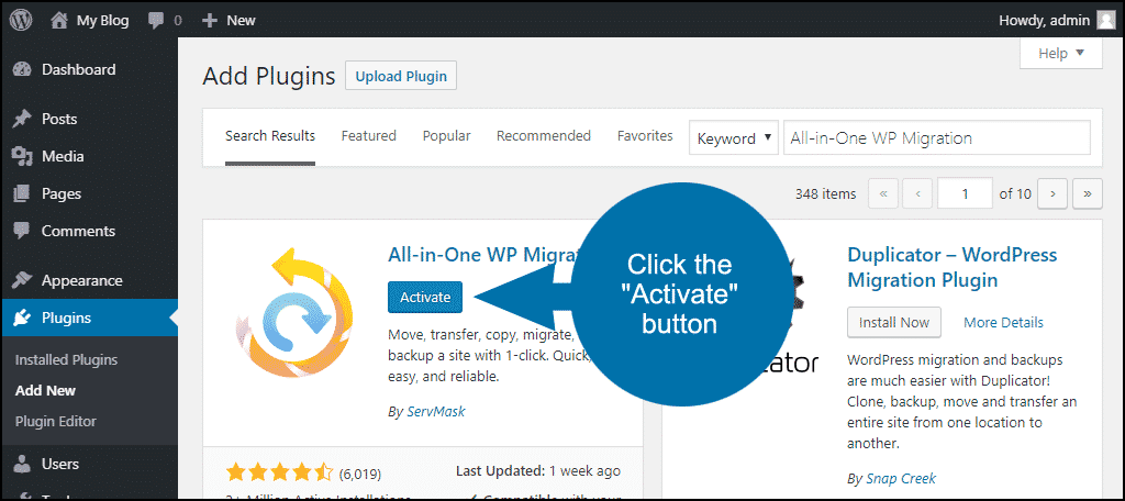 click to activate the WordPress All-in-One WP Migration plugin