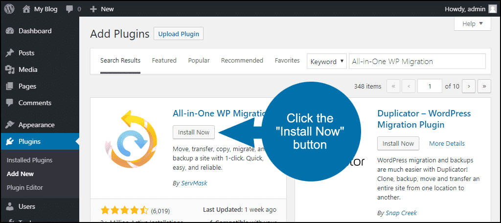 click to install the WordPress All-in-One WP Migration plugin