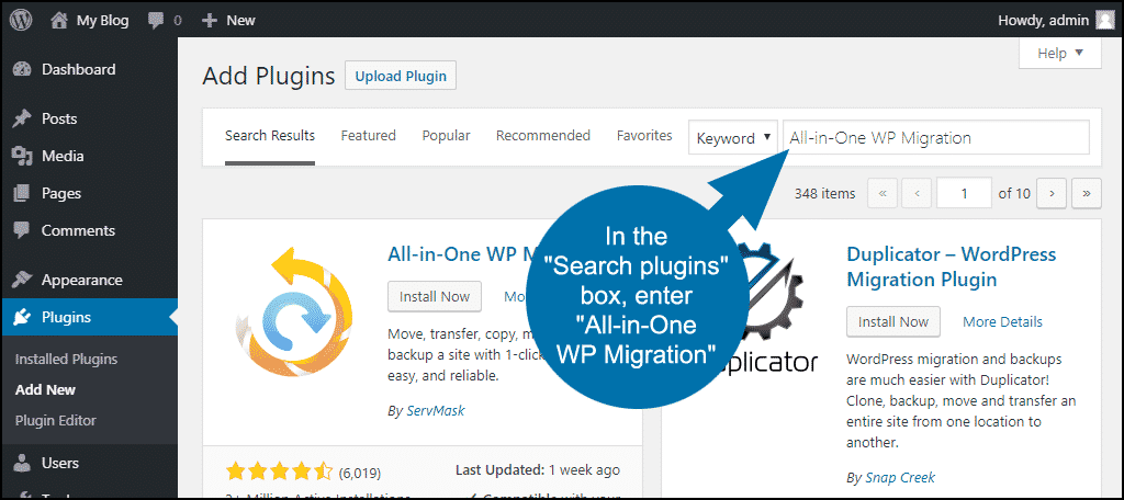 search for the WordPress All-in-One WP Migration plugin