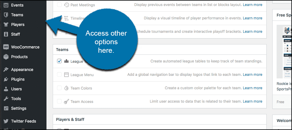 Access other options