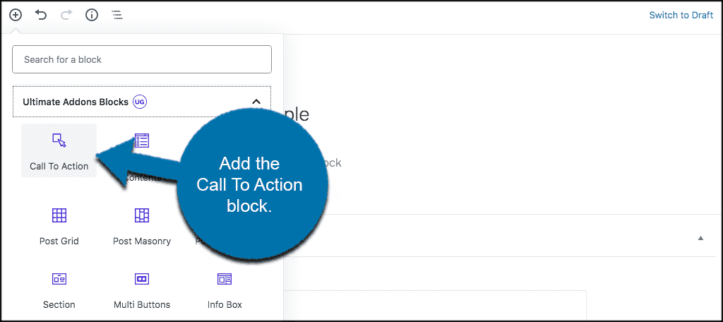 Add call to action block into editor