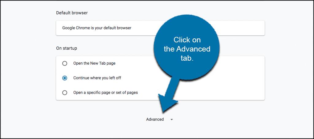 Click on advanced tab