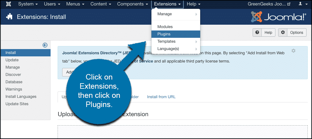 Click on extensions then plugins
