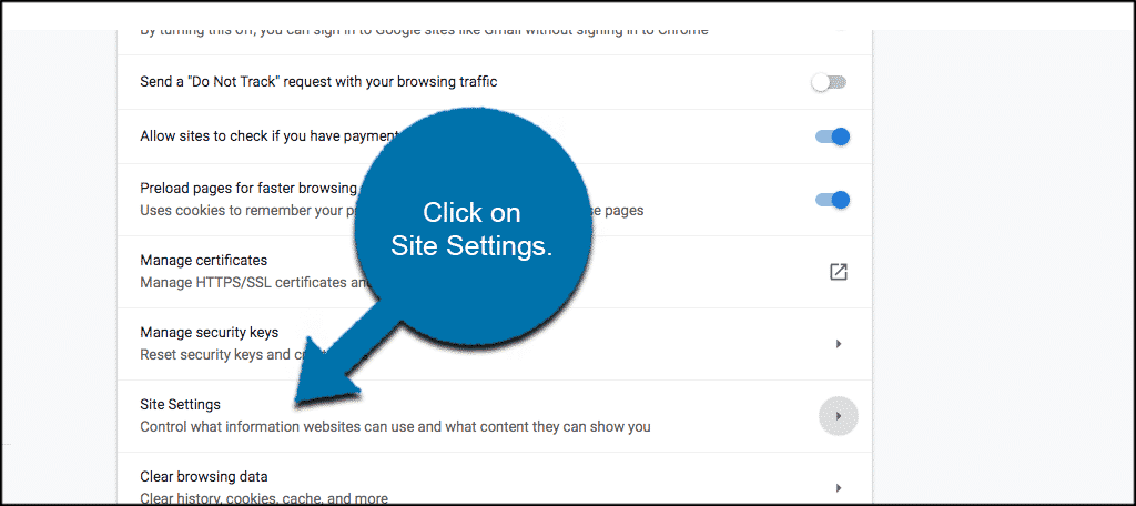 Click on site settings