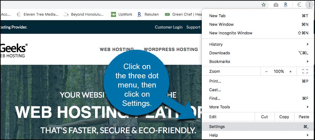 Click on three dot menu then settings
