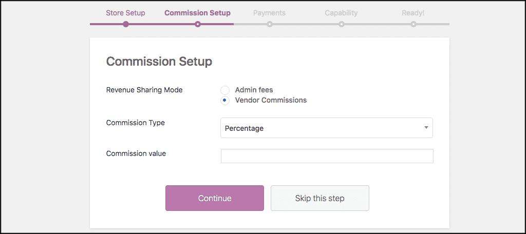 Commission setup tab