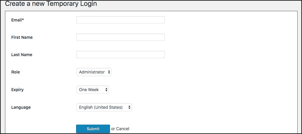 Create a wordpress temporary login