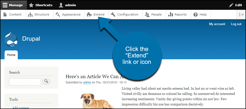 """click the """"Extend"""" link"""