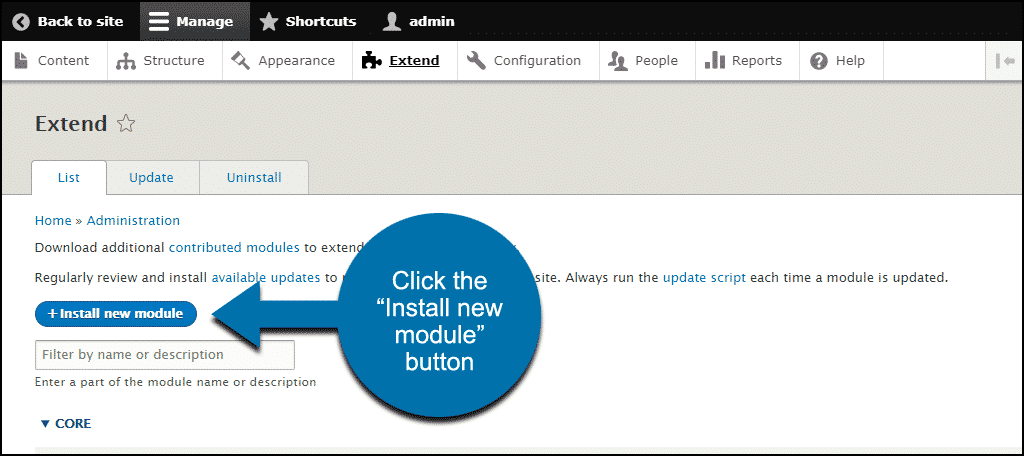 "click ""Install new module"" button"