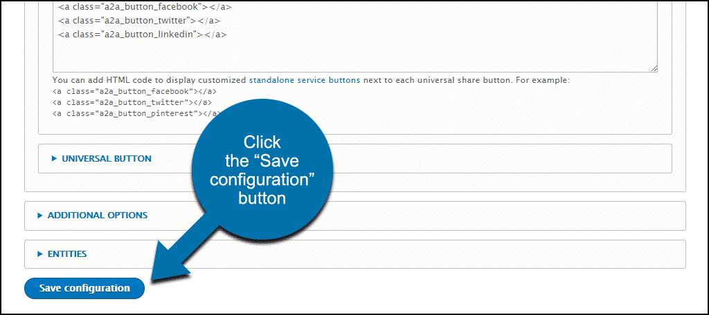 "click the ""Save configuration"" button"