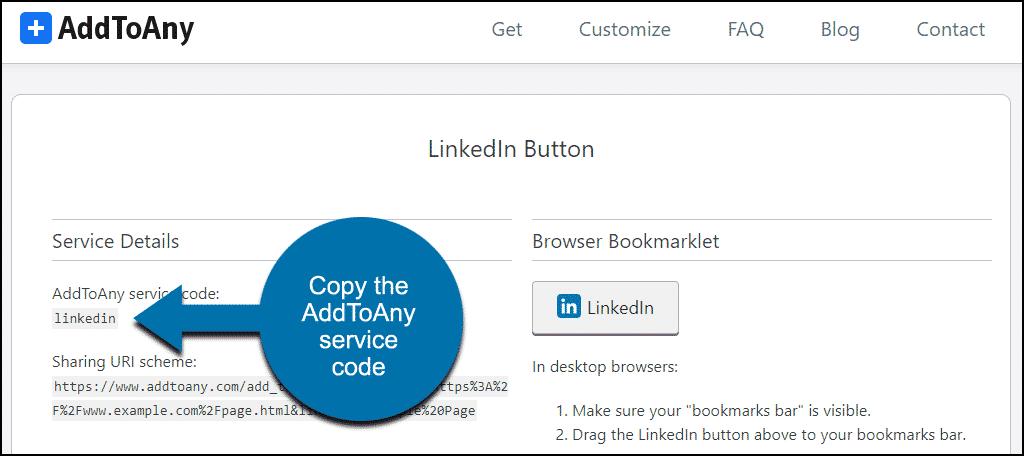 copy the AddToAny service code