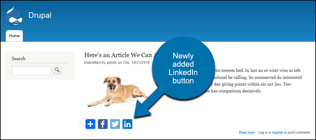 now the LinkedIn button is visible