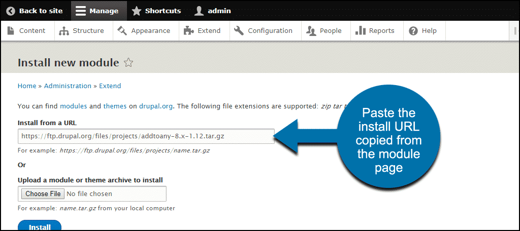 paste the link copied from the module page
