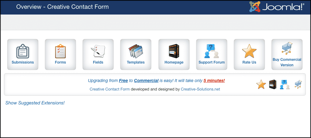 Main jommla contact form overview page