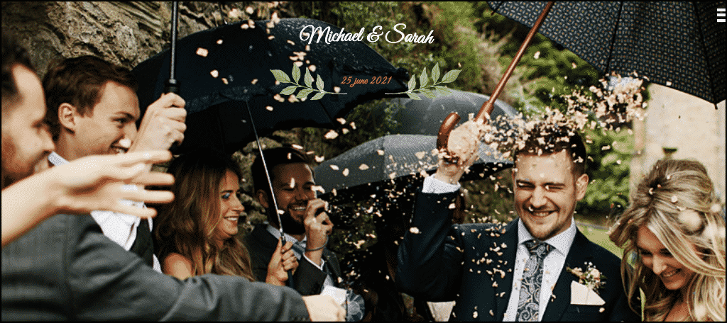 Create a wedding website with the marriage theme