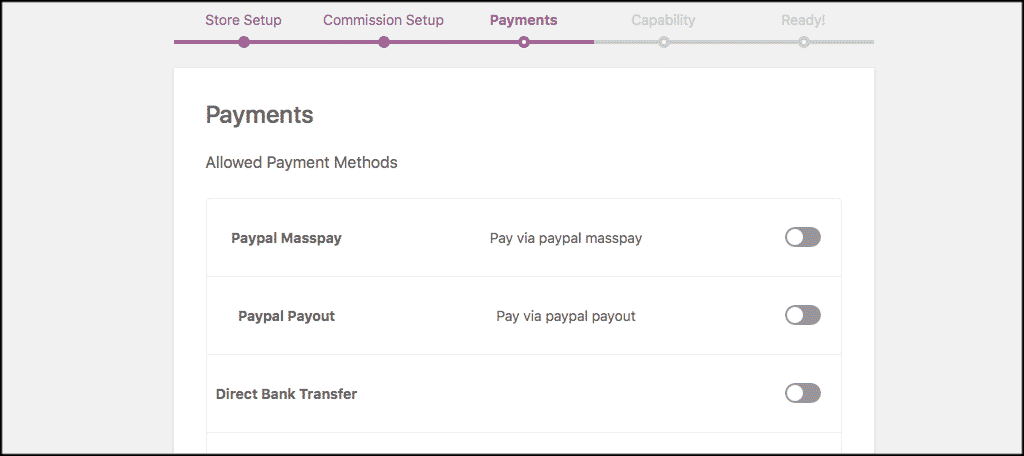 Payments tab for multivendor wordpress plugin
