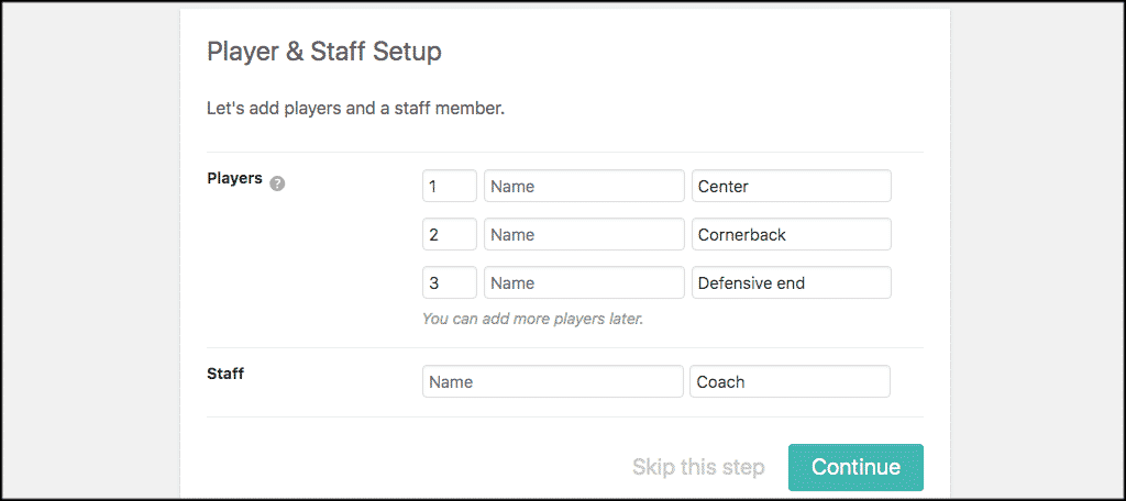 Players and staff tab