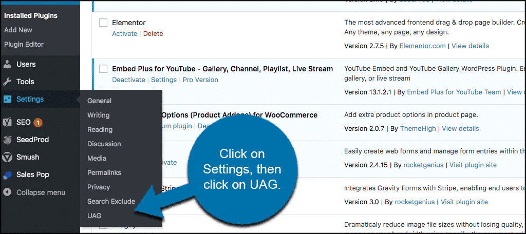 Click settings then uag