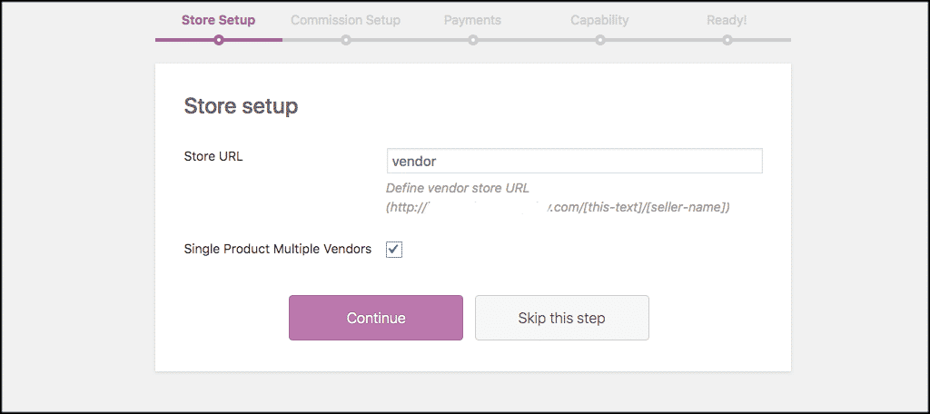 Store setup tab