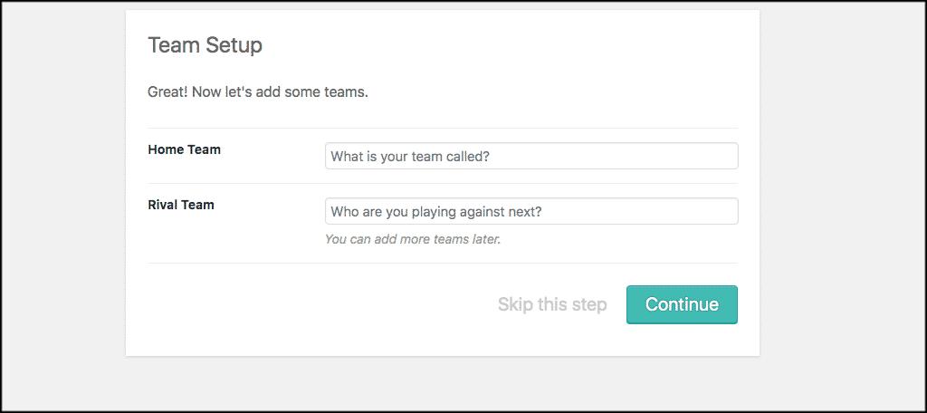 Team setup tab