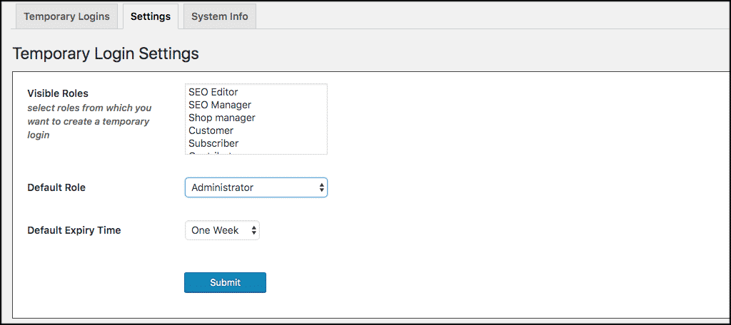 WordPress temporary login settings